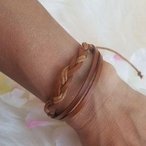 Tan braided faux leather bracelet